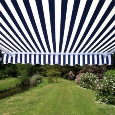 Half Cassette Awning Blue and White Stripe 2m x 1.5m - Manual