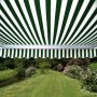 Half Cassette Awning Green and White Stripe 4m x 3m - Manual
